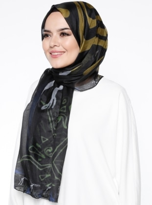 Rayon - Printed - Multi - Black - Shawl