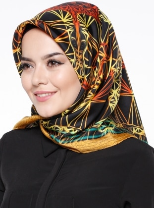 Black - Multi - Printed - Twill - %100 Silk - Scarf