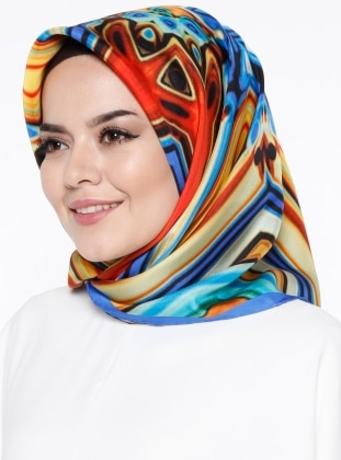 %100 Silk - Twill - Printed - Multi - Yellow - Blue - Scarf