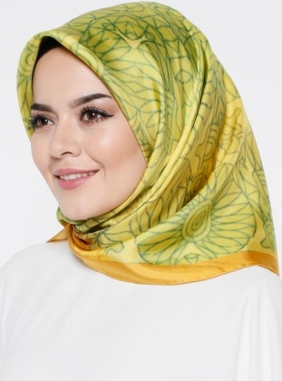 Green - Orange - Multi - Printed - Twill - %100 Silk - Scarf