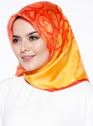 %100 Silk - Twill - Printed - Multi - Orange - Scarf