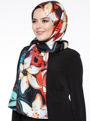 Twill - Printed - Multi - Black - %100 Silk - Shawl