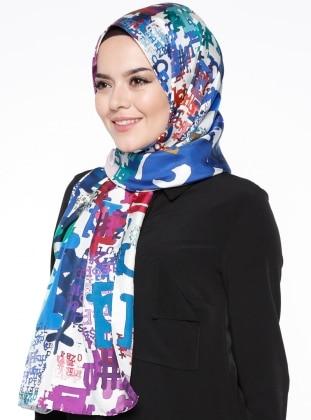 Twill - Printed - Multi - Blue - %100 Silk - Shawl