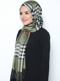 Green - Multi - Plaid - Fringe - Shawl