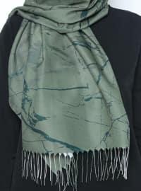 Multi - Khaki - Printed - Fringe - Shawl
