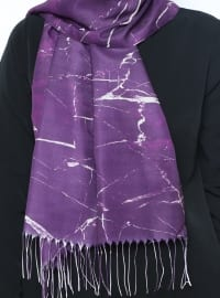 Purple - Multi - Printed - Fringe - Shawl