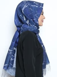 Navy Blue - Multi - Printed - Fringe - Shawl