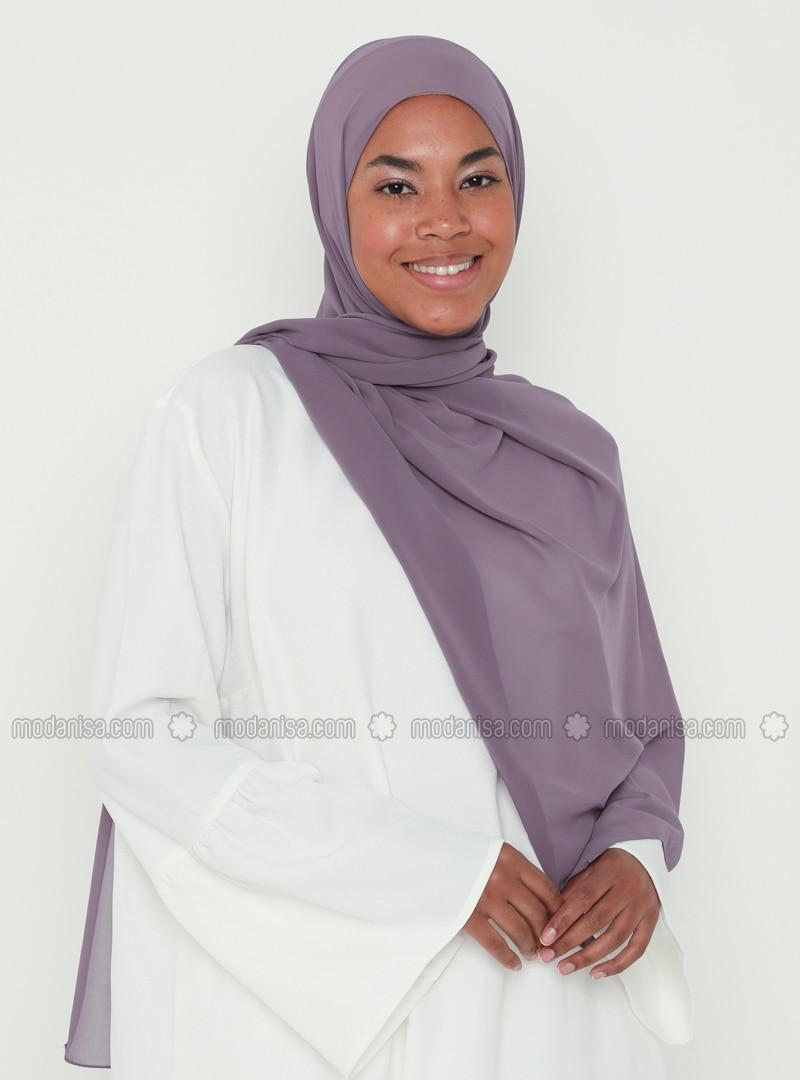 Purple - Plain - Chiffon - Shawl