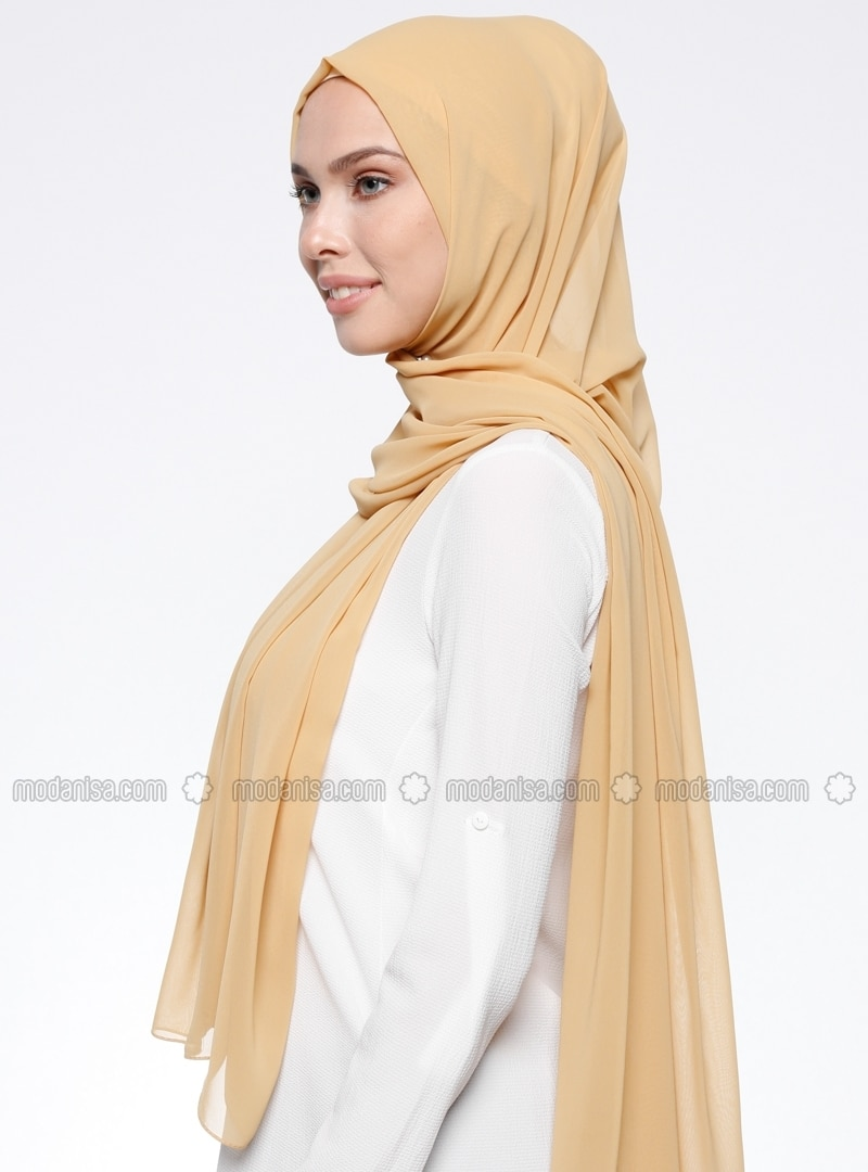Yellow - Plain - Chiffon - Shawl
