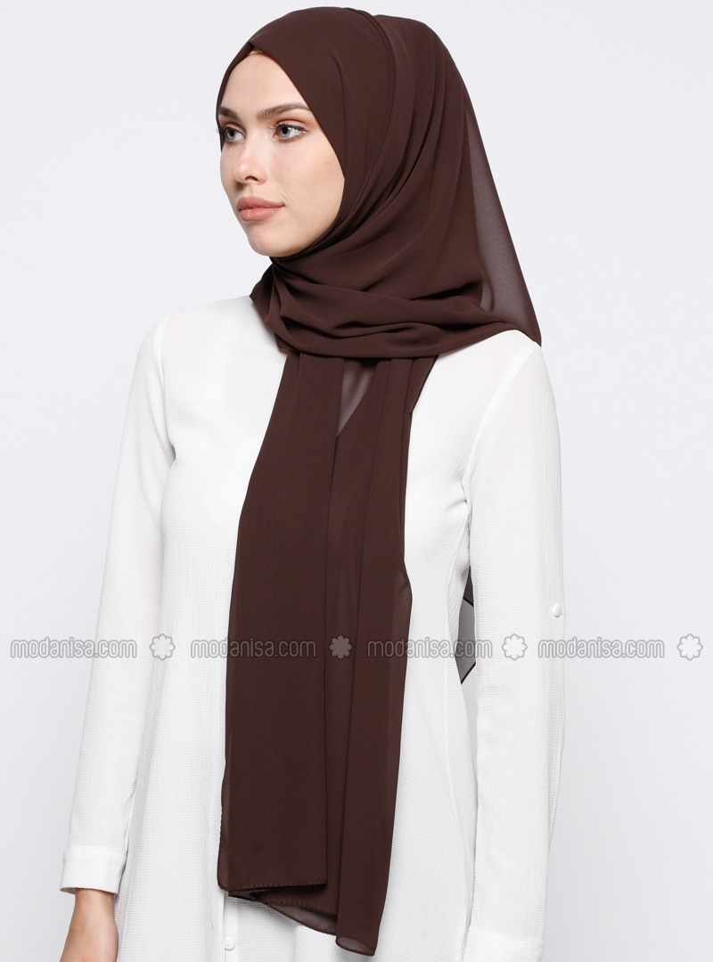 Brown - Plain - Chiffon - Shawl