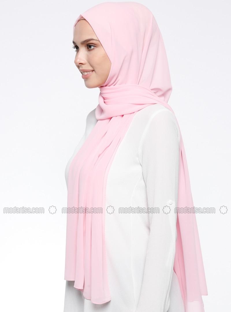Pink - Plain - Chiffon - Shawl