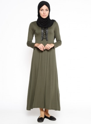 Bağcık Detaylı Elbise - Haki Dadali