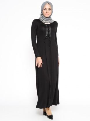 Bağcık Detaylı Elbise - Siyah Dadali