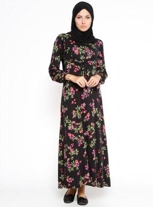 Çiçekli Elbise - Siyah Yeşil Dadali