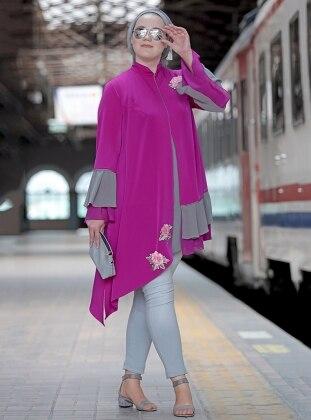 Nakışlı Fırfırlı Bluz&Ceket İkili Takım - Fuşya