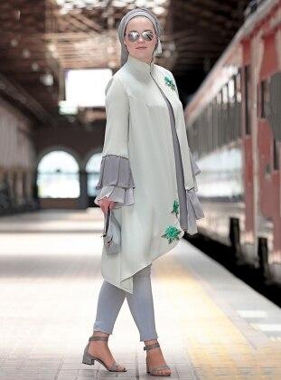 Nakışlı Fırfırlı Bluz&Ceket İkili Takım - Mint Yeşili