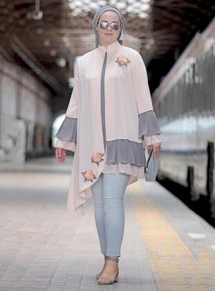 Nakışlı Fırfırlı Bluz&Ceket İkili Takım - Pudra