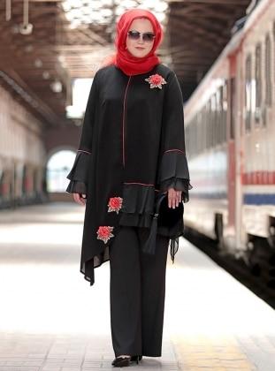 Nakışlı Fırfırlı Bluz&Ceket İkili Takım - Siyah