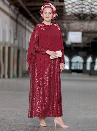 Payetli Şifon Pelerinli Abiye Elbise - Bordo