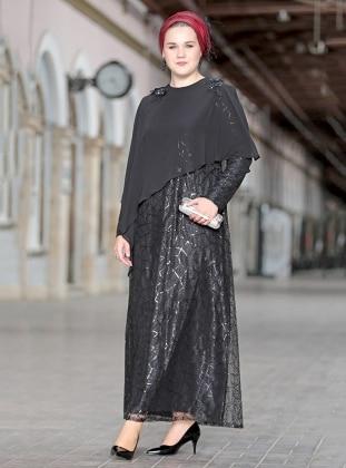 Payetli Şifon Pelerinli Abiye Elbise - Siyah