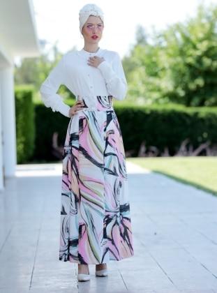 Art Pileli Etek - Ekru Pudra Selma Sarı Design