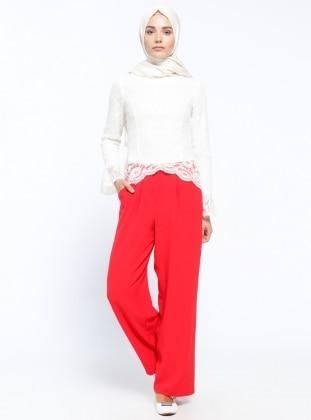 Appleline Bol Paça Pantolon - Kırmızı