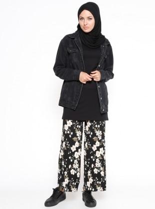 Çiçekli Pantolon - Siyah