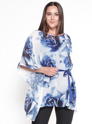 Çiçekli Şifon Bluz&Askılı Body İkili Takım - Mavi CARİNA