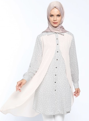 Desenli Tunik - Açık Gri Pudra - CML Collection