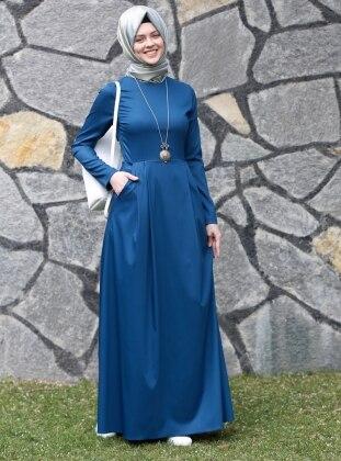 Kübra Biriktir Gözde Elbise - Petrol Mavi