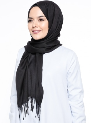 Fringe - Plain - Black - Shawl