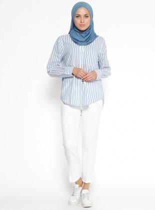 Nakış Detaylı Pantolon - Beyaz Dadali