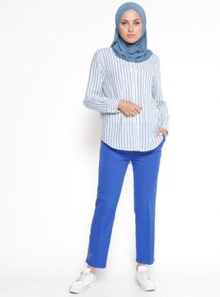 Nakış Detaylı Pantolon - Saks