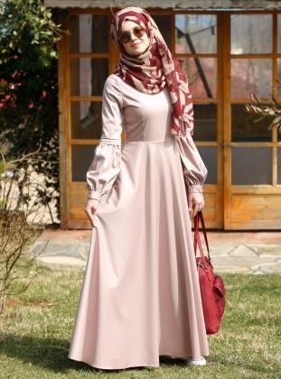 Nil Kloş Elbise - Pudra