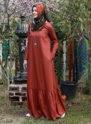 Kübra Biriktir Nilüfer Elbise - Kiremit