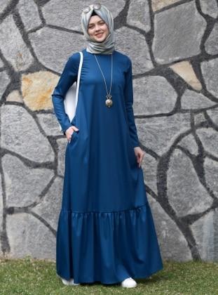 Kübra Biriktir Nilüfer Elbise - Petrol Mavisi