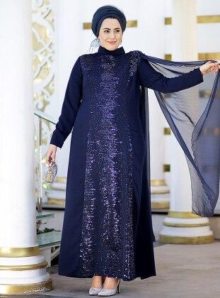 Şifon Pelerinli Şehnaz Abiye Elbise - Lacivert