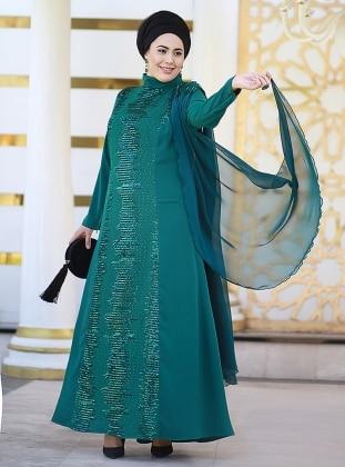 Şifon Pelerinli Şehnaz Abiye Elbise - Yeşil Nesrin Emniyetli