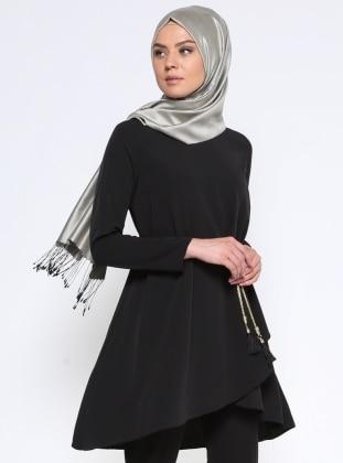 Anvelop Detaylı Tunik - Siyah
