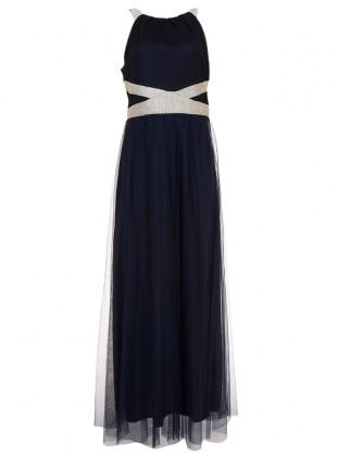 Navy Blue - Fully Lined - Crew neck - Muslim Evening Dress - Mileny 306307