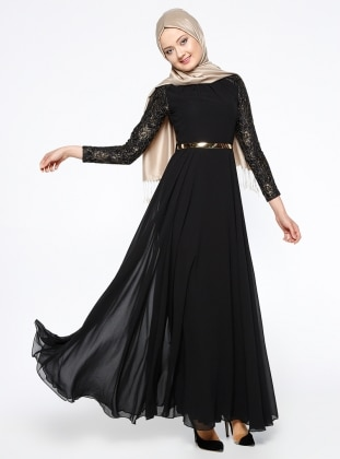 Dantelli Abiye Elbise - Siyah Mileny
