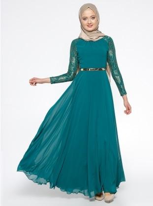 Dantelli Abiye Elbise - Yeşil Mileny