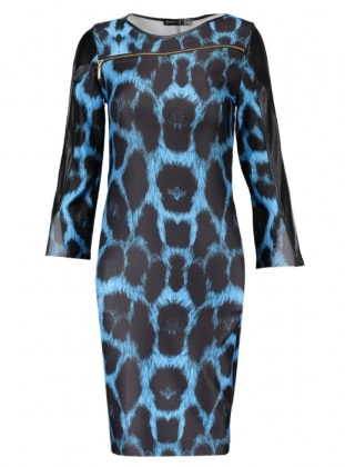 Blue - Leopard - Unlined - Crew neck - Muslim Evening Dress - Mileny 306308