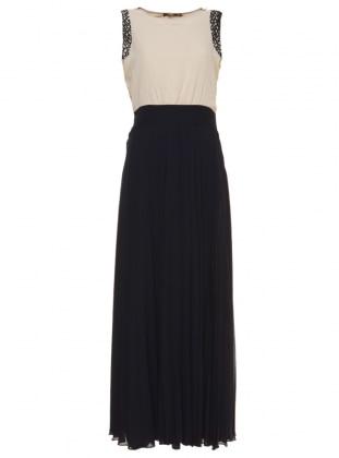 Navy Blue - Beige - Crew neck - Fully Lined - Muslim Evening Dress - Mileny 306302