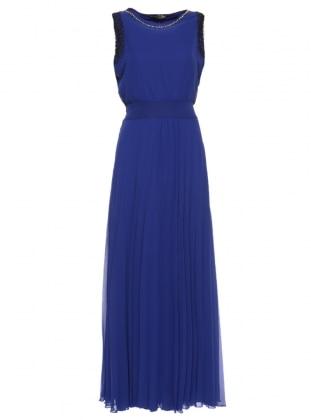 Güpür Detaylı Kolsuz Uzun Abiye Elbise - Saks Mileny