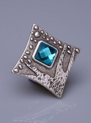 Fsg Takı Buz Mavisi Kristal Gümüş Kaplama Mıknatıslı Broş - Açık Mavi