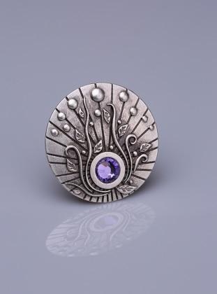Silver tone - Purple - Scarf Accessory