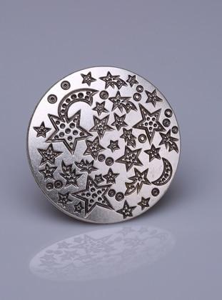 Fsg Takı Kristal Taşlı Gümüş Kaplama Mıknatıslı Broş - Gümüş