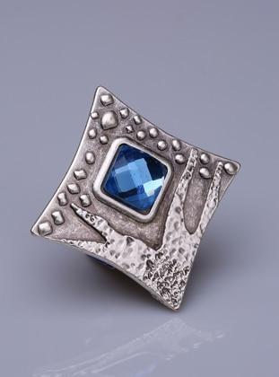 Fsg Takı Mavimsi Yeşil Kristal Gümüş Kaplama Mıknatıslı Broş - Gümüş
