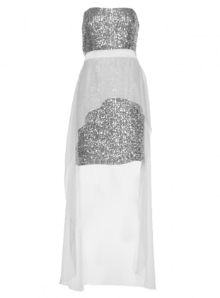 Pul Payet Şifon Elbise - Beyaz Mileny